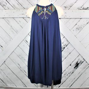 Hi-Low Halter Dress By Alya with Embroidery Sz Lg